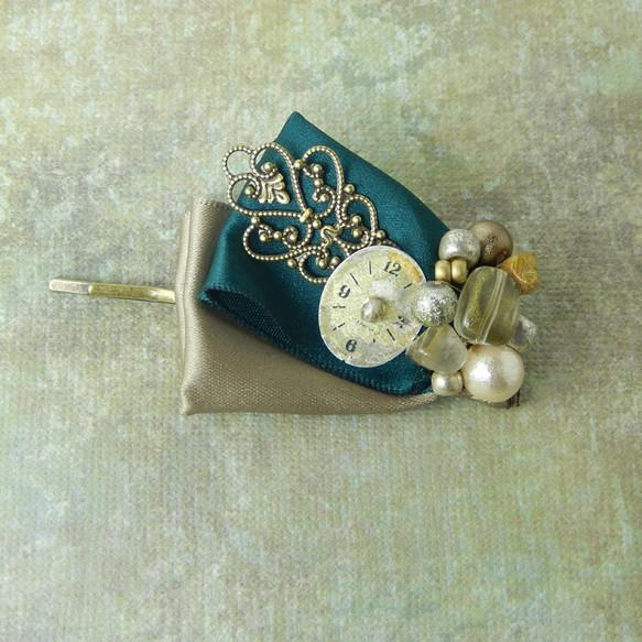 Green ribbon with Vintage Clock ヘアピン ヘアピン ハンドメイド通販・販売のCreema (206)