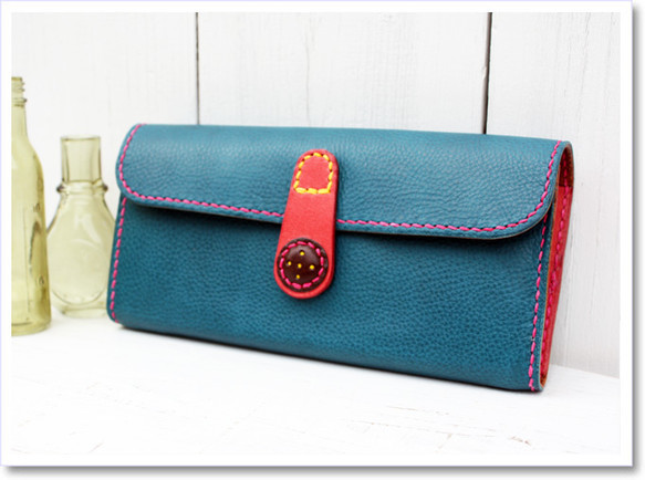 収納たっぷり!大人ガーリーな革の長財布(ブルー)|財布・長財布|ハンドメイド通販・販売のCreema (745)