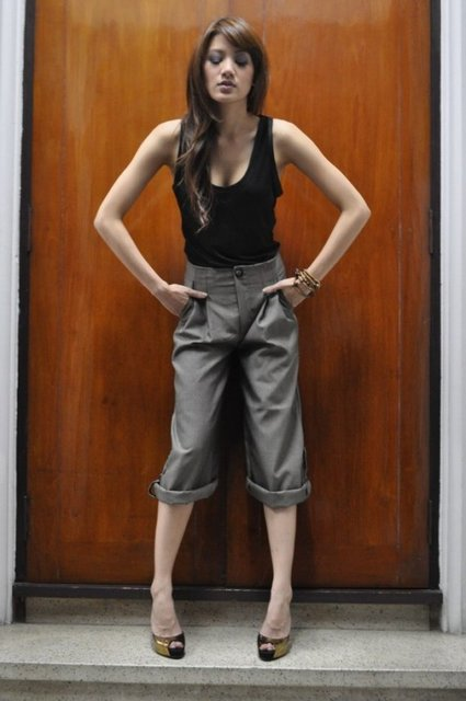 Khaki Capri Pants High Waist Trousers Wide by andwhatelseisthere (868)