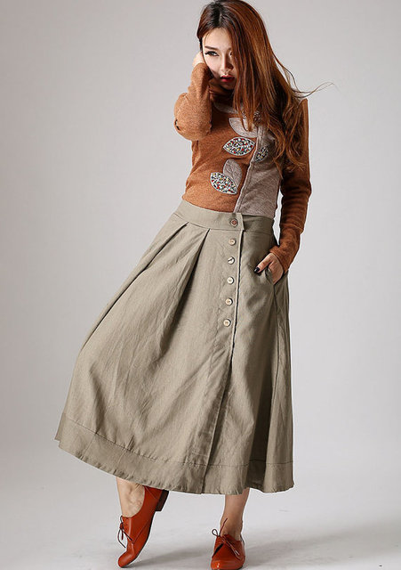 Khaki skirt woman Maxi linen skirt with button detail by xiaolizi (876)