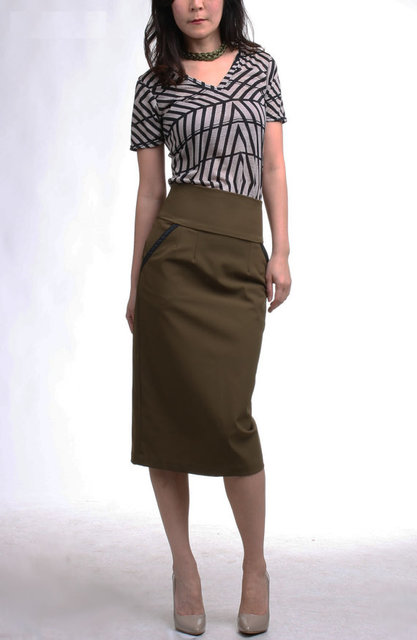 Leather Trim High Waist Pencil Skirt with Pocket  by artaffect (884)