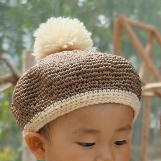 麦わら帽子 ベレー帽タイプ (brown&ivory) by george ベビー・キッズ キッズ服・小物 | ハンドメイドマーケット minne(ミンネ) (920)