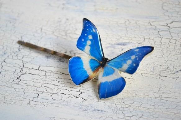小さな森に住む蝶のヘアピン 白×ブルー|ヘアピン|ハンドメイド通販・販売のCreema (1702)