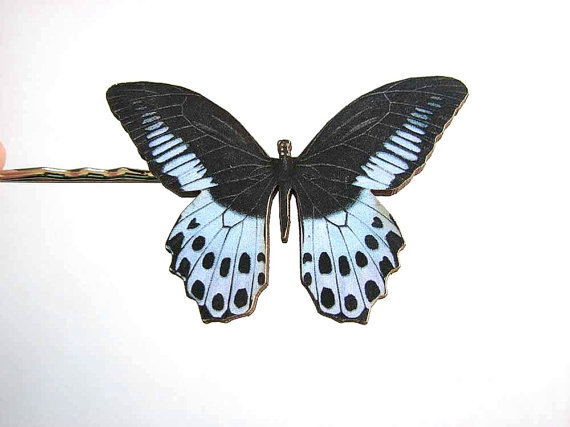 black & blue butterfly hairpin bobby pin / hair by friendlygesture (1724)