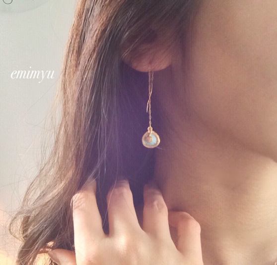 18Kcoating Natural Turquoise Chain Pierce by emimyu アクセサリー ピアス | ハンドメイドマーケット minne(ミンネ) (2358)