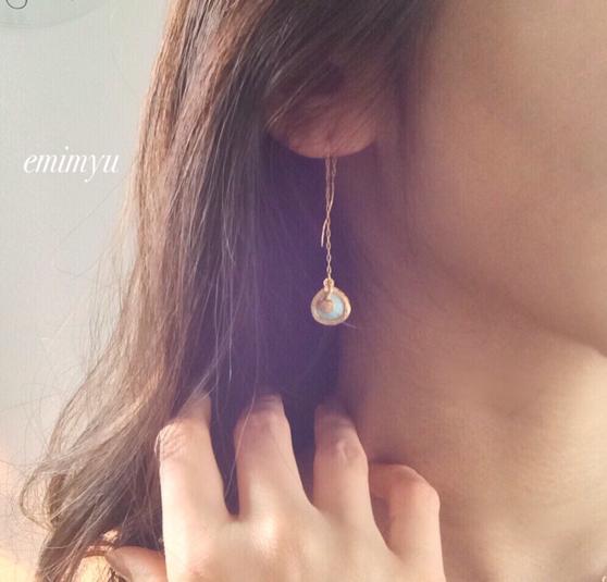 18Kcoating Natural Turquoise Chain Pierce by emimyu アクセサリー ピアス | ハンドメイドマーケット minne(ミンネ) (2358)