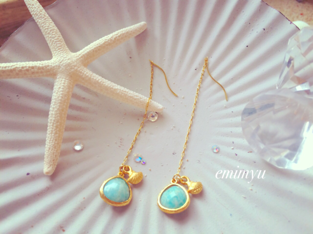 18Kcoating Natural Turquoise Chain Pierce by emimyu アクセサリー ピアス | ハンドメイドマーケット minne(ミンネ) (2359)