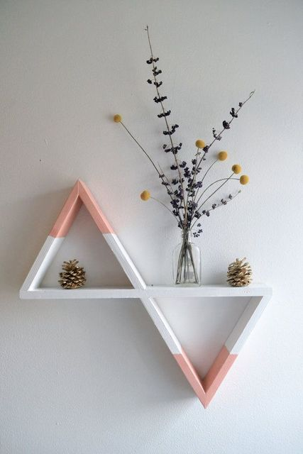 Geometric Shelf (White and Peach) | Shelves, Peaches and Etsy (2413)