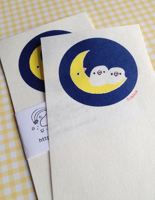 一筆せん(月と文鳥)&封筒セット|レターセット・封筒・便せん|ハンドメイド通販・販売のCreema (2569)