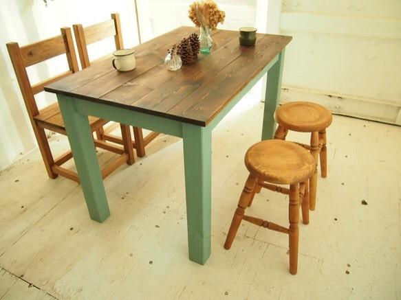 ダイニングテーブル 【1200×700】(ツートン・チーク×グリーン)|テーブル・デスク|ハンドメイド通販・販売のCreema (2937)