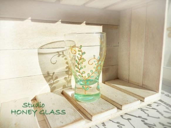 ミントグリーンリーフのミニグラス (絵付けグラス)|グラス|ハンドメイド通販・販売のCreema (3571)