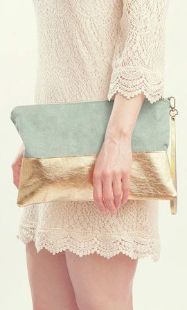 Mint and Gold Wedding Accessory. Gold Leather Clutch. Mint Green Wedding Clutch. Mint Green Clutch. Pastel Bridesmaid Bag   Clutches, Pastel and Handbags (5746)
