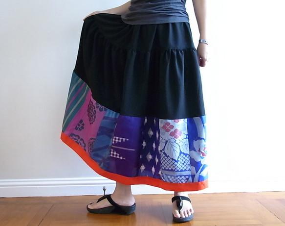 ビンテージの着物地を使ったフレアスカート -ロング|スカート・パンツ|ハンドメイド通販・販売のCreema (5776)