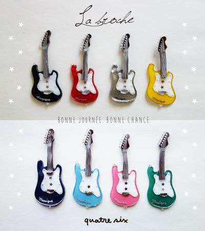 ROCKなギターのブローチ:8 COLORS ★ by quatre six アクセサリー コサージュ・ブローチ | ハンドメイドマーケット minne(ミンネ) (8328)