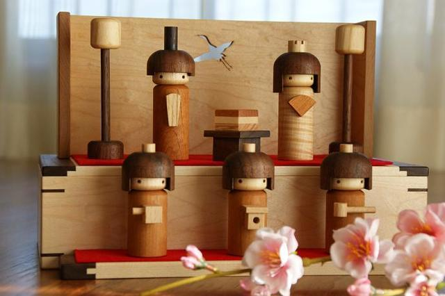 kokeshi雛 五人飾り by 福ひで ぬいぐるみ・人形 人形 | ハンドメイドマーケット minne(ミンネ) (8838)