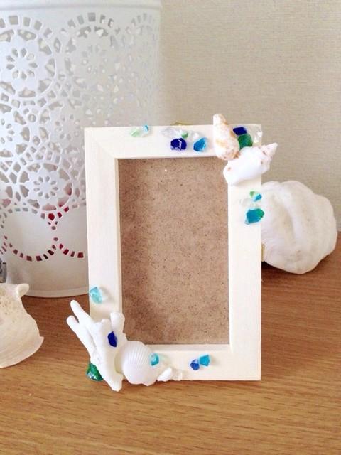 貝とガラスのミニフォトフレーム☆|フォトフレーム・写真立て|ハンドメイド通販・販売のCreema (10025)