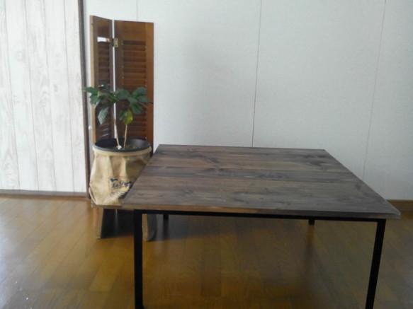 木と鉄のローテーブル  80cm正方形|テーブル・デスク|ハンドメイド通販・販売のCreema (10336)