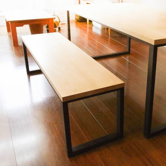 ホワイトオーク無垢天板 鉄脚ベンチ|椅子・ベンチ・スツール|ハンドメイド通販・販売のCreema (10477)