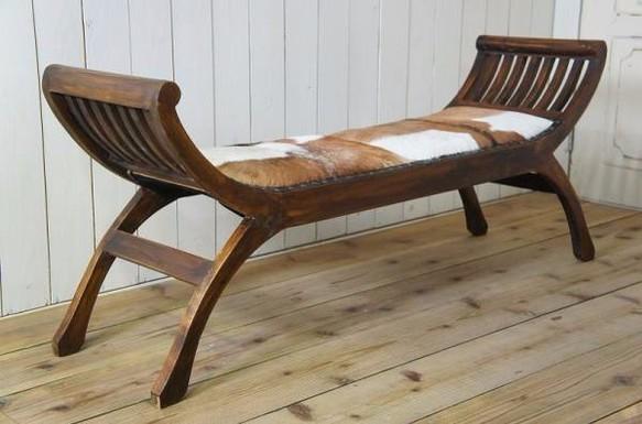 アンティーク調 チークスツール 毛皮 革張 無垢 ベンチ 椅子 茶|椅子・ベンチ・スツール|ハンドメイド通販・販売のCreema (10480)