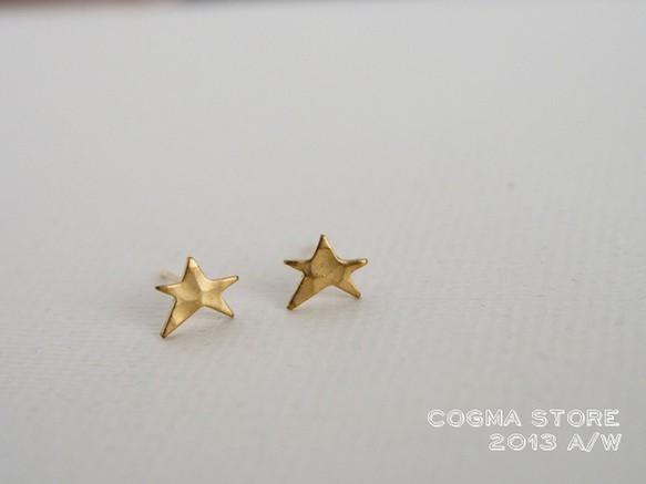 STAR[真鍮] ピアス(スタッド・一粒) ハンドメイド通販・販売のCreema (10528)