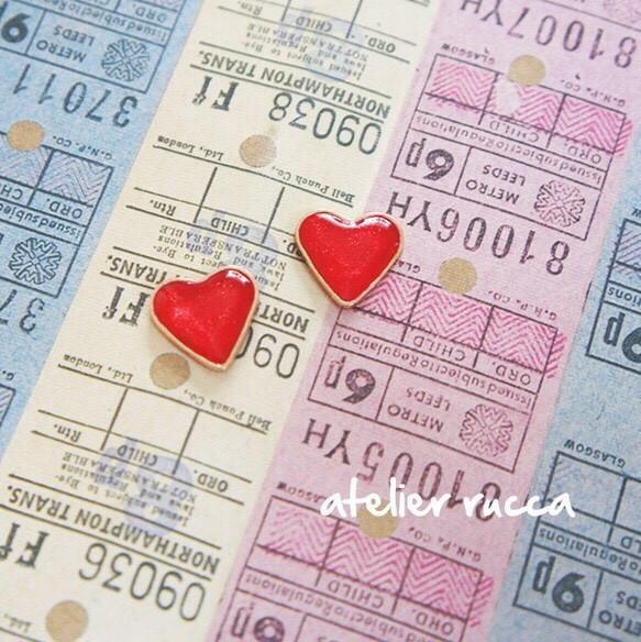 恋するハートピアス/イヤリング|ピアス(スタッド・一粒)|ハンドメイド通販・販売のCreema (10556)
