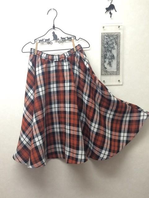 リネンマドラスチェックのフレアースカート*総ゴム*裏地付き|スカート・パンツ|ハンドメイド通販・販売のCreema (10608)