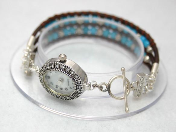ターコイズとカレンシルバーの腕時計|腕時計|ハンドメイド通販・販売のCreema (10638)