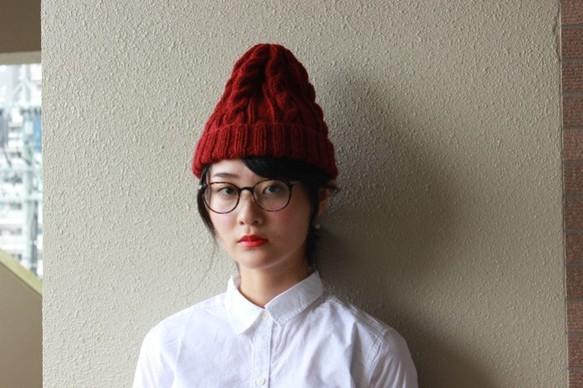 アラン模様のニット帽  ワイン色|帽子|ハンドメイド通販・販売のCreema (10692)