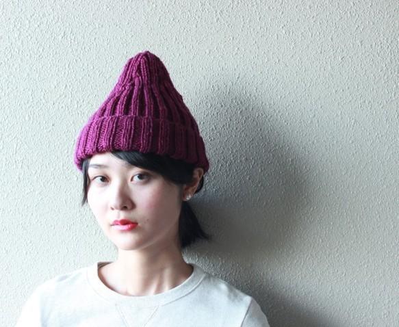 二目ゴム編みのニット帽 ラズベリー|帽子|ハンドメイド通販・販売のCreema (10698)