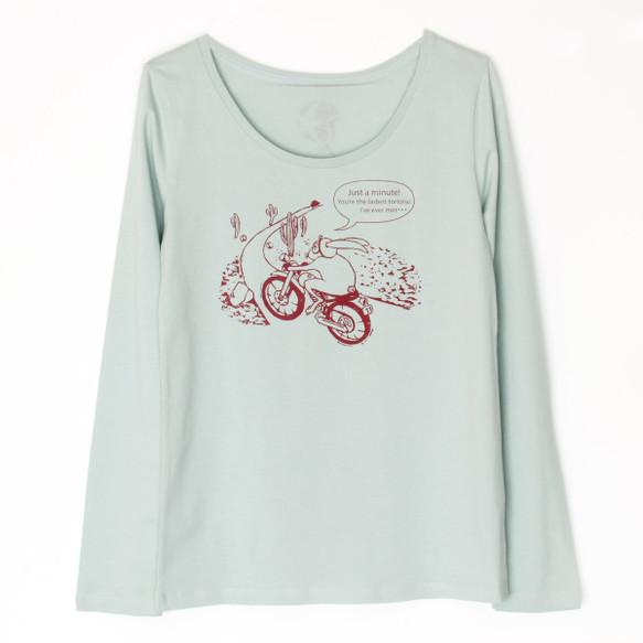 うさぎくんのT-シャツ Lady's 長袖 mint×red|Tシャツ・ポロシャツ|ハンドメイド通販・販売のCreema (10709)