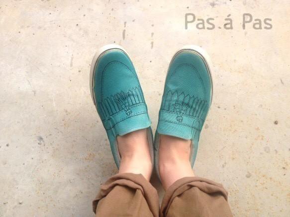 だまし絵モカシンシューズ(ブルーグリーン・ブラウン)|靴・スニーカー・サンダル|ハンドメイド通販・販売のCreema (10903)