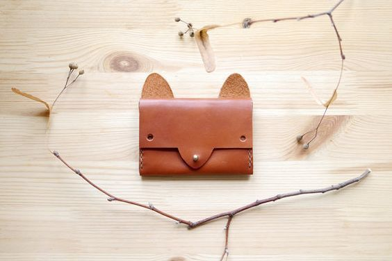 Fox Wallet - simple leather cardholder | 財布、キツネ、レザー (11027)