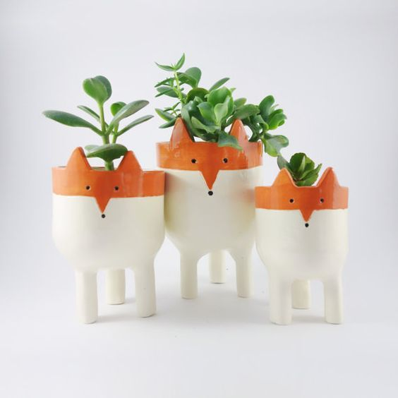 Fox Planters -Three Ceramic Fox Plant Pots - Garden | 陶磁器、キツネ、プランター (11165)