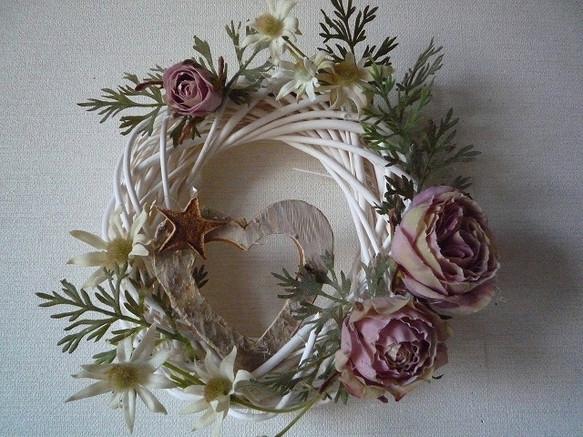 Sale白樺のハート♪フランネルフラワーアートフラワーリース♪|リース|ハンドメイド通販・販売のCreema (11623)