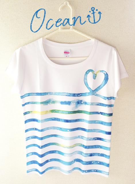 SALE☆水彩ボーダーTシャツ(Ocean Blue) by rino ファッション Tシャツ | ハンドメイドマーケット minne(ミンネ) (11907)