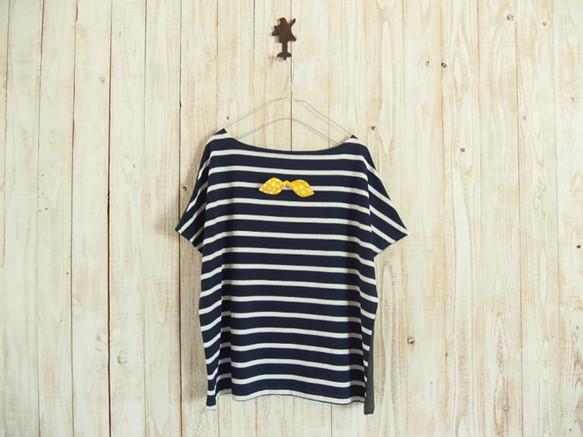 どっちもTシャツ(リボン)/紺白ボーダー×チャコールグレー|Tシャツ・ポロシャツ|ハンドメイド通販・販売のCreema (11910)