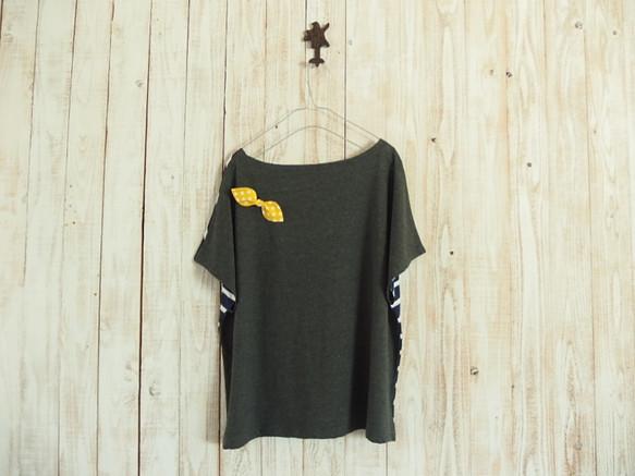 どっちもTシャツ(リボン)/紺白ボーダー×チャコールグレー|Tシャツ・ポロシャツ|ハンドメイド通販・販売のCreema (11911)