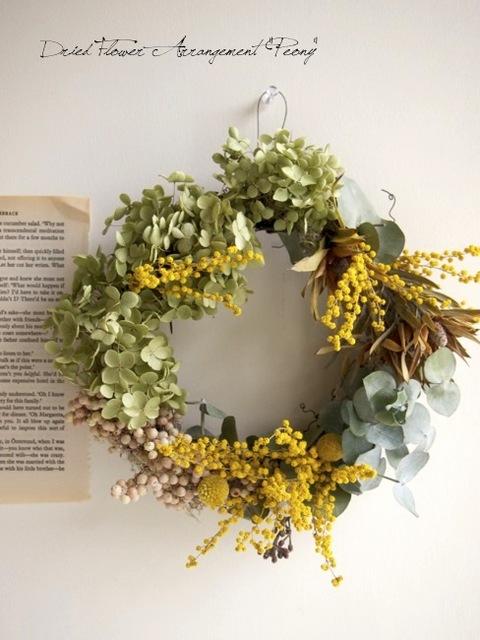 アナベルとミモザのリース - ドライフラワーリース&アレンジ | Dried Flower Arrangement ''Peony'' ピオニー (12115)
