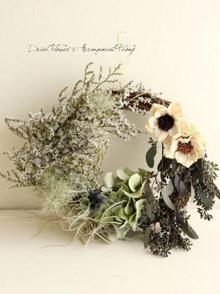 デュモサのサマーリース - ドライフラワーリース/ウェルカムボード/ ウェルカムリース| Dried Flower Arrangement ''Peony'' ピオニー (12116)