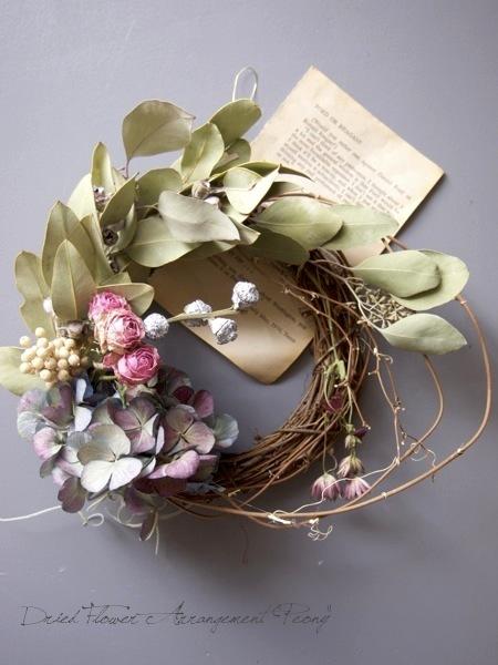 バラと遊ぶリース - ドライフラワーリース&アレンジ | Dried Flower Arrangement ''Peony'' ピオニー (12117)