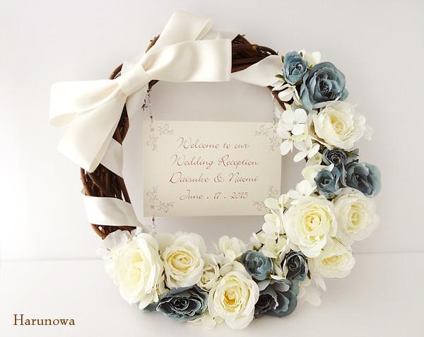 【SOULD OUT】 お花とリボンのウェディングウェルカムリース crescent - blue - / ウェルカムボード | ハンドメイド、手作り作品の通販 minne(ミンネ) (12483)