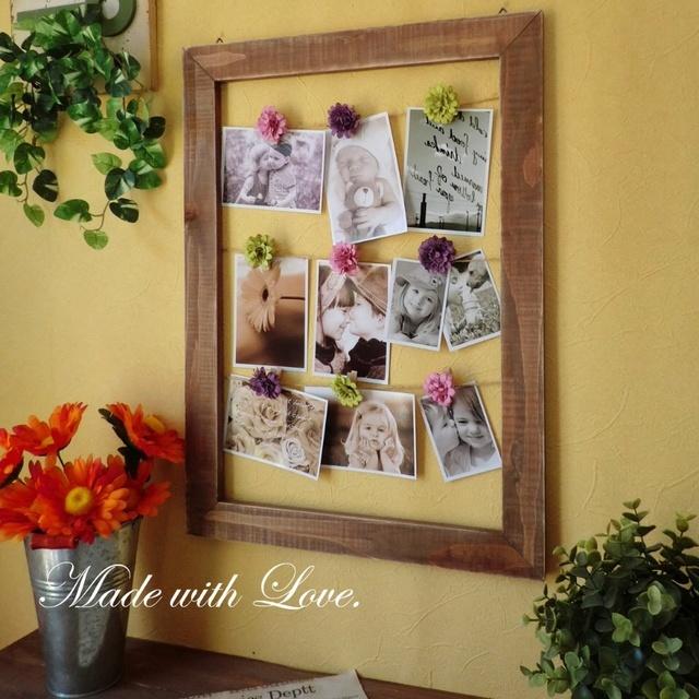 お花のクリップ付アンティーク風木製フォトフレーム/green | ハンドメイド、手作り作品の通販 minne(ミンネ) (12523)