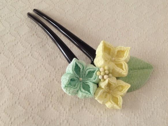 〈つまみ細工〉紫陽花のかんざし(三輪・レモンと白緑)|和装・着物・浴衣|ハンドメイド通販・販売のCreema (12746)