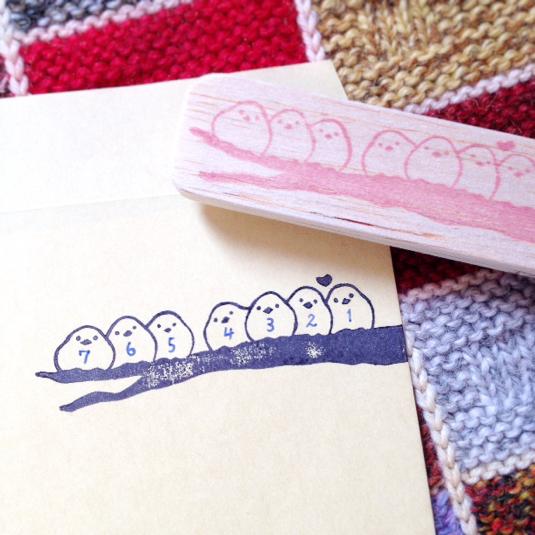 【再再販】小鳥たちの郵便番号枠はんこ | ハンドメイド、手作り作品の通販 minne(ミンネ) (12901)