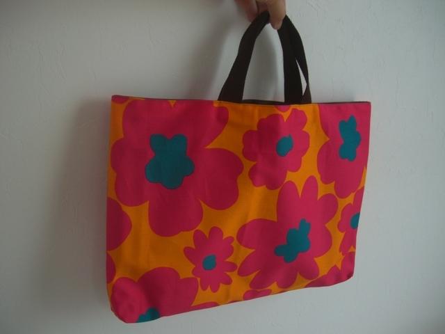 北欧柄レッスンバッグ~大きな花 ピンク | ハンドメイド、手作り作品の通販 minne(ミンネ) (13125)