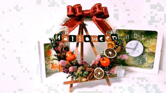 秋香るハロウィンリース*ウェルカムボードにも*プリザーブドフラワー*誕生日・お店・結婚などお祝い|フラワー・リース|atelier de *kore|ハンドメイド通販・販売のCreema (14468)