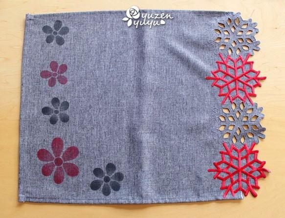 花の型染めカットワークランチョンマット☆グレー|コースター・テーブルクロス|結友|ハンドメイド通販・販売のCreema (14909)