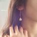 18Kcoating Natural Turquoise Chain Pierce by emimyu アクセサリー ピアス | ハンドメイドマーケット minne(ミンネ)